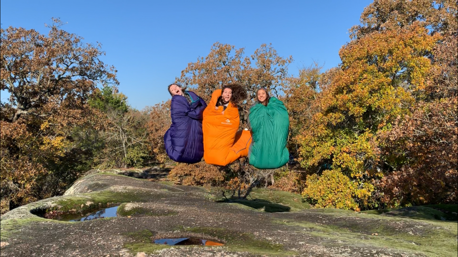 Venturing Crew members Emiline Henderson, Ellie Franks and Sara Lau went on the club's October campout to Slippery Falls near Tishomingo.