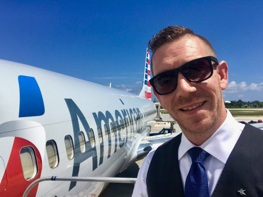 Flight Attendant, Jeffrey Ewing, at work for American Airlines